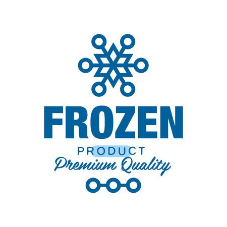 冷凍製品プレミアム品質、雪片記号ベクトルイラストで凍結するためのラベル