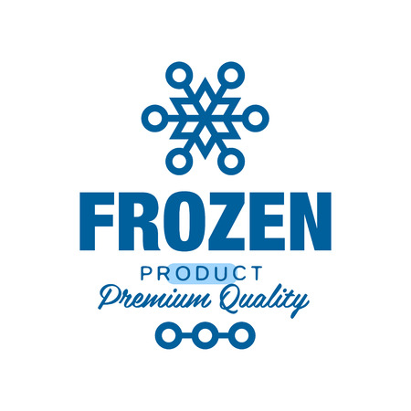 Frozen product premium quality, label for freezing with snowflake sign vector Illustration
