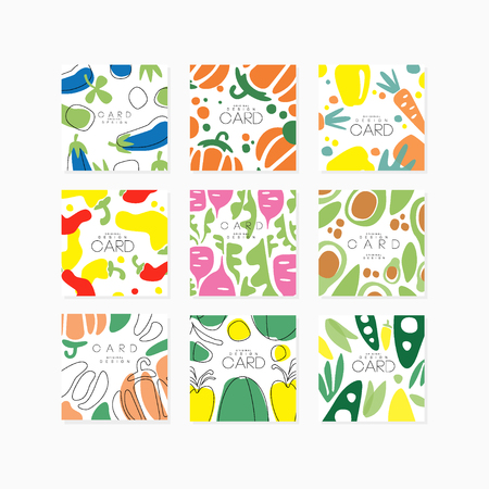 Vegetable cards collection original design, posters with eggplant, pepper, carrot, avocado, beet vector illustrations Illusztráció
