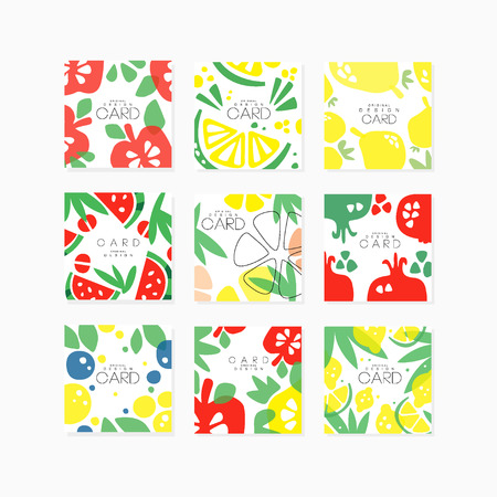 Fruit cards collection original design, posters with apple, pear, citrus, lime, lemon, berry, pomegranate, watermelon vector illustrations