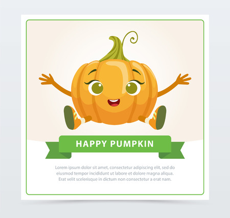 Cute humanized gourd vegetable character , happy pumpkin banner flat vector element for website or mobile app