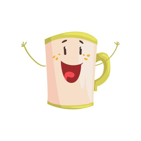 Tea mug cartoon character, element for menu of cafe, restaurant, kids food, vector Illustration