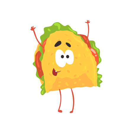 Funny taco cartoon character, meat and vegetables in a corn tortilla, traditional mexican fast food vector Illustration