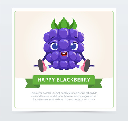 Cute humanized bramble berry character, happy blackberry banner flat vector element for website or mobile app