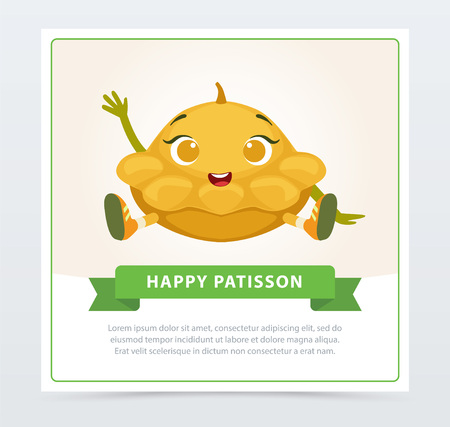 Cute humanized squash vegetable character waving its hand, happy patisson banner flat vector element for website or mobile app Zdjęcie Seryjne - 89757978
