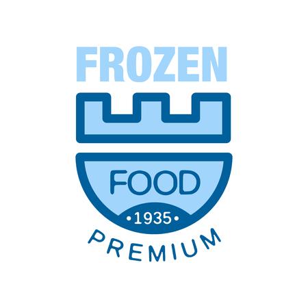 Bevroren voedselpremie sinds 1935, abstract etiket voor het bevriezen van vectorIllustratie Stockfoto - 89758005