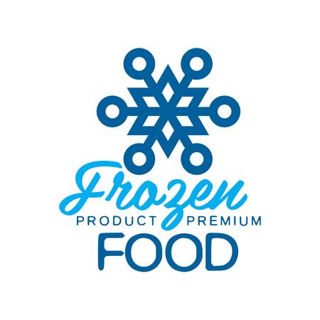 Frozen product premium voedsel, label voor het bevriezen met sneeuwvlok teken vector illustratie Stock Illustratie