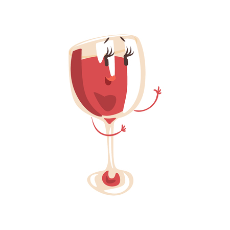 Funny glass of wine cartoon character, element for menu of cafe, restaurant, kids food, vector Illustration