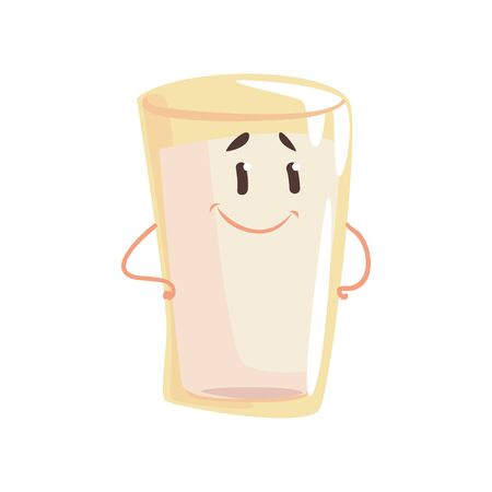 Glass of milk cartoon character, element for menu of cafe, restaurant, kids food, vector Illustration