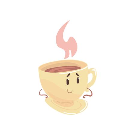 차 컵 만화 캐릭터, 카페, 레스토랑, 아이 음식, 벡터 일러스트 레이 션의 메뉴에 대 한 요소