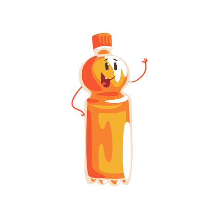 Soft soda drink bottle cartoon character, element for menu of cafe, restaurant, kids food, vector Illustration