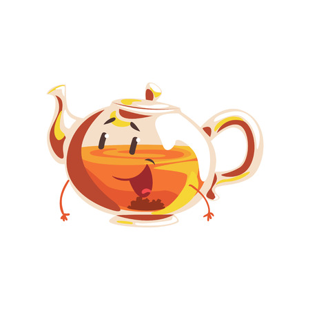 Funny glass teapot cartoon character, element for menu of cafe, restaurant, kids food, vector Illustration