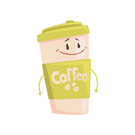Funny coffee cup cartoon character, element for menu of cafe, restaurant, kids food, vector Illustration