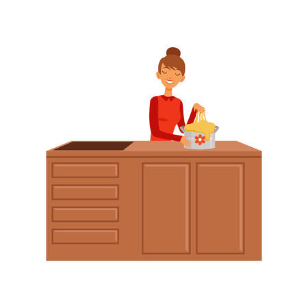 Young woman kneading dough, housewife girl cooking food in the kitchen flat vector Illustration on a white background Illustration