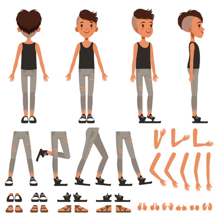 Boy character creation set, student boy constructor with different poses, gestures, shoes vector Illustrations on a white background 向量圖像