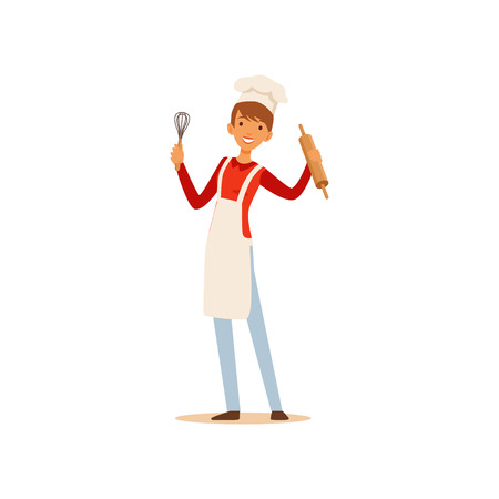 Young woman in white apron and chef hat standing and holding whisk and rolling pin, housewife girl cooking food in the kitchen flat vector Illustration on a white background Illustration