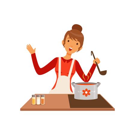 Młoda kobieta z kadzi gotowania zupy, gospodyni dziewczyna w kuchni płaskie wektor ilustracja