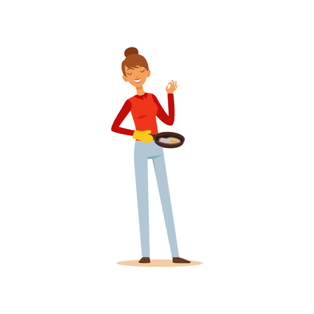 Young woman holding frying pan with fried eggs, housewife girl cooking food in the kitchen flat vector Illustration on a white background
