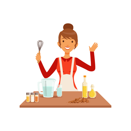 Young woman with whisk baking, housewife girl cooking food in the kitchen flat vector Illustration on a white background