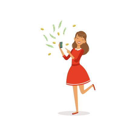 Beautiful young successful rich woman character in red dress earning money with smartphone, financial success colorful flat vector Illustration on a white background 向量圖像
