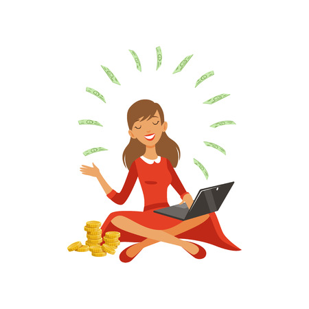 Beautiful young successful rich woman character in red dress earning money with laptop, financial success colorful flat vector Illustration on a white background 向量圖像
