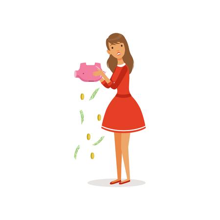 貯金箱空カラフルなフラット ベクトル図を振って赤いドレスの美しい悲しい若い女性キャラクター 写真素材 - 89782387