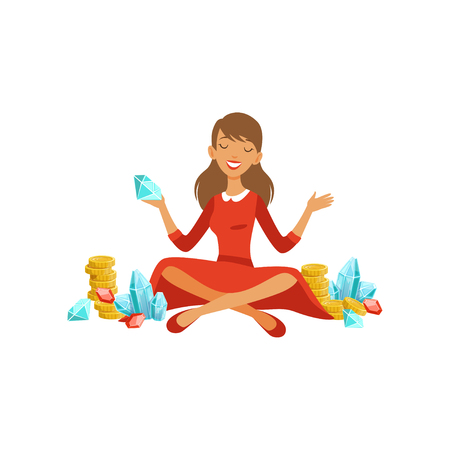 Beautiful young successful rich woman character in red dress sitting with her legs crossed and enjoying her money and precious stones, financial success colorful flat vector Illustration 版權商用圖片 - 89782393