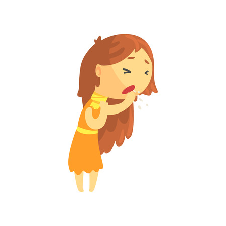 Sick girl with long hair coughing, unwell teen needing medical help cartoon character vector illustration isolated on a white background 向量圖像