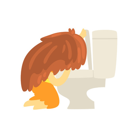 Sick girl vomiting into the toilet bowl, unwell teen needing medical help cartoon character vector illustration isolated on a white background