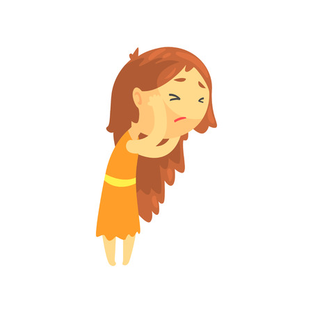 Sick girl with long hair touching her head suffering from headache, unwell teen needing medical help cartoon character vector illustration isolated on a white background Çizim