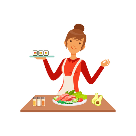 Young cheerful woman making sushi rolls, housewife girl cooking food in the kitchen flat vector Illustration on a white background