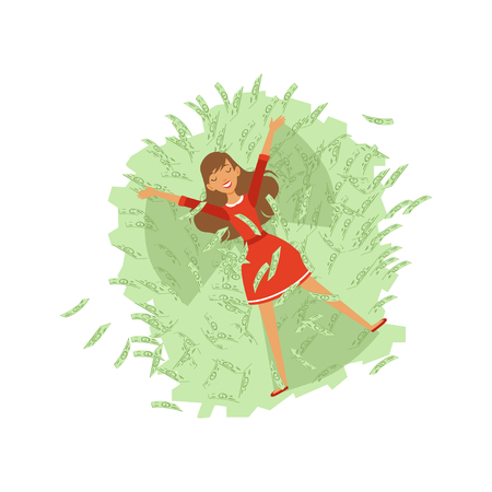 Beautiful happy young successful rich woman character in red dress bathing in green money bills, financial success colorful flat vector Illustration on a white background 向量圖像
