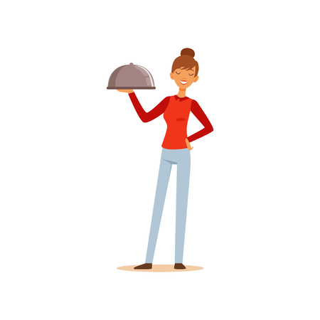 Young cheerful woman holding platter cloche, housewife girl cooking food in the kitchen flat vector Illustration