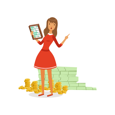 Beautiful young rich woman character in red dress counting her money with abacus, financial success colorful flat vector Illustration on a white background