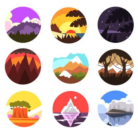 Reeks van wilde aard om landschap, tropisch, berg, noordelijk landschap op verschillende tijdstippen van dag vectorillustraties op een witte achtergrond
