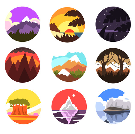 Set of wild nature round landscape, tropical, mountain, northern scenery at different times of day vector illustrations on a white background Çizim