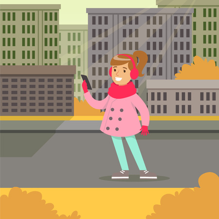 Beautiful smiling girl in fashion clothes walking with smartphone on a city background vector illustraion, web banner