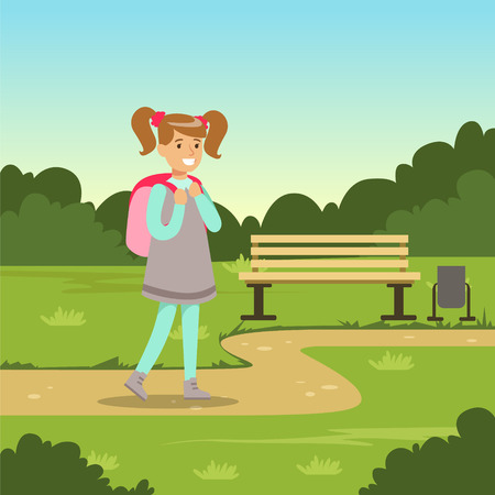 Beautiful smiling girl with backpack walking in city park, kids outdoor activity vector illustration
