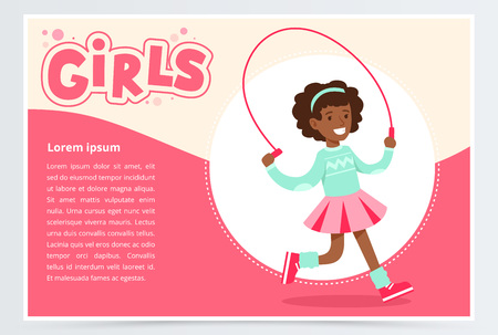 Cute african girl jumping with skipping rope, girls banner flat vector element for website or mobile app