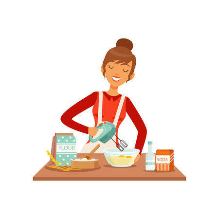 Young cheerful woman mixing dough with mixer, housewife girl cooking food in the kitchen flat vector Illustration Vectores