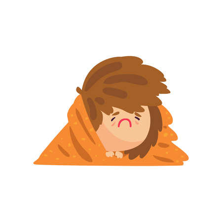 Unhappy sick girl having high temperature lying covered with a blanket, girl caught a flu cartoon character vector illustration