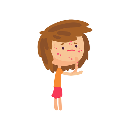 Unhappy girl suffering from rash on her body cartoon character vector illustration Ilustracja