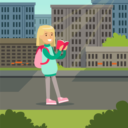 Cute blonde girl with backpack walking and reading book on a city background vector illustration