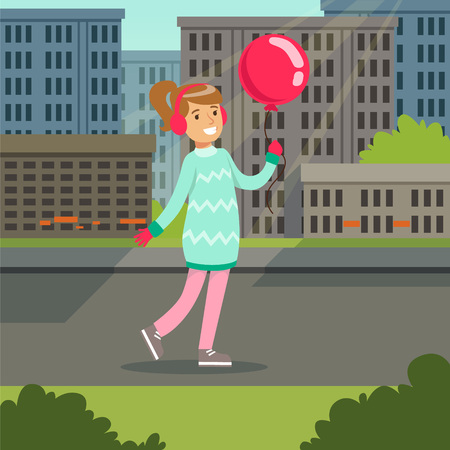 Beautiful smiling gtirl with pink balloon walking on a city background vector illustraion
