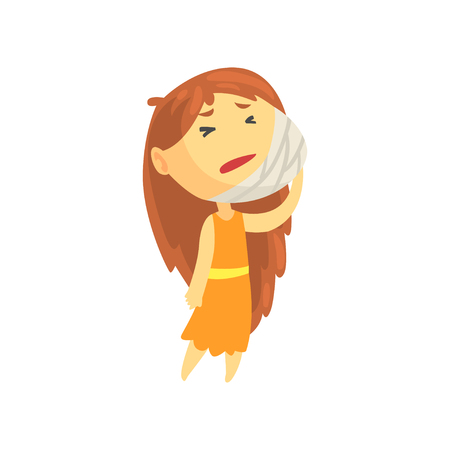 Sick girl with long hair holding her bandaged cheek suffering from toothache, unwell teen needing medical help cartoon character vector illustration