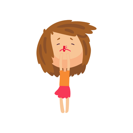 Unhappy girl with bleeding nose cartoon character vector illustration