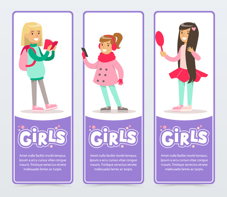 Beautiful smiling school girls banners set flat vector element for website or mobile app