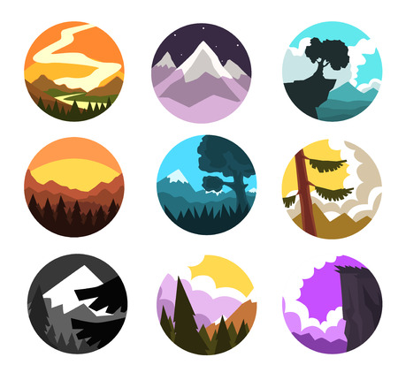 Set of wild nature round landscape, mountain l scenery at different times of day vector illustrations Çizim