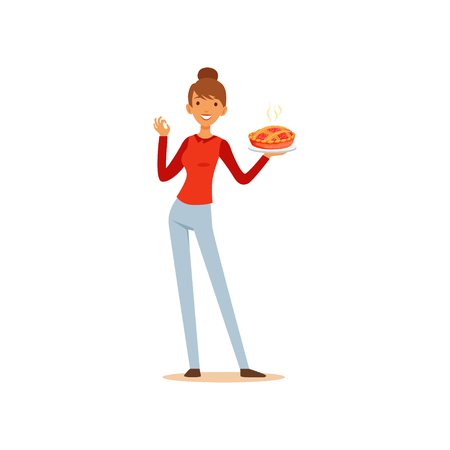 Young woman holding freshly baked pie and showing okay sign, housewife girl cooking food in the kitchen flat vector Illustration