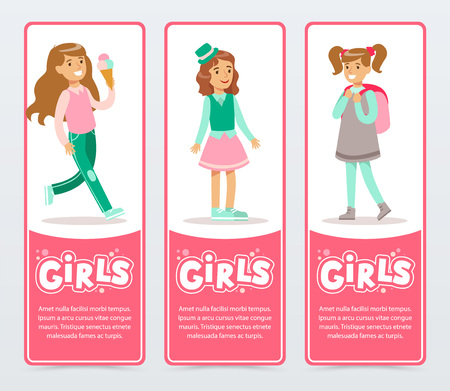 Cute happy girls in different situations, girls banners set flat vector element for website or mobile app with sample text